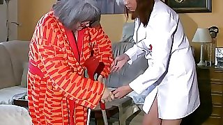 Plumper chubby Nurse masturbate with old Grannie